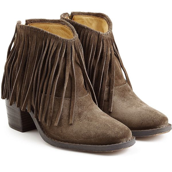 Fiorentini & Baker Ramones Fringed Suede Ankle Boots ($195) ❤ liked on Polyvore featuring shoes, boots, ankle booties, brown, short fringe boots, low heel booties, suede booties, fringe boots and brown booties