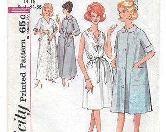 década de 1960 camisón y bata dos longitudes patrón de costura Vintage ~ tamaño 14 16 busto 34 36 ~ vestido escote en V ~ botón frontal traje ~ bolsillos cinturón de lazo