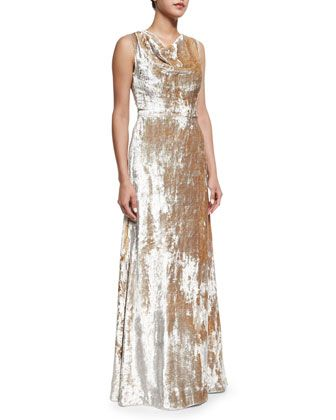 Crushed Velvet Cowl-Neck Gown, Silver by Co at Neiman Marcus.