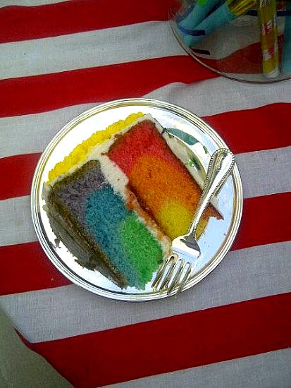 How to Make a Rainbow Cake by Brown-Eyed Baker.  I'm SO doing this for my kid when she has a birthday!  I think this is the coolest-looking, easiest rainbow cake method I've seen.  Yup, it's happening.