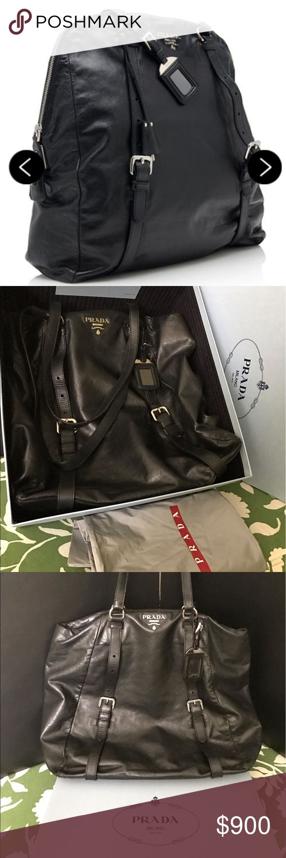 """Prada New Look Nero Tote Bag Pre-Loved Condition Moderate wear, creasing, and scuffs throughout exterior and handles. Light wear to bottom corners. Surface scratches on hardware.  Size Width (at base): 14"""" Height: 16"""" Depth: 3.5"""" Shoulder Strap Drop: 10""""  Product Details Type of Material: Calfskin Color: Black Lining: Black logo jacquard Pockets: Interior Zip, Interior open Hardware: Silver-tone Closure: Zipper Origin: Italy Includes: Luggage tag, Dust Bag and Large Box Prada Bags Totes"""