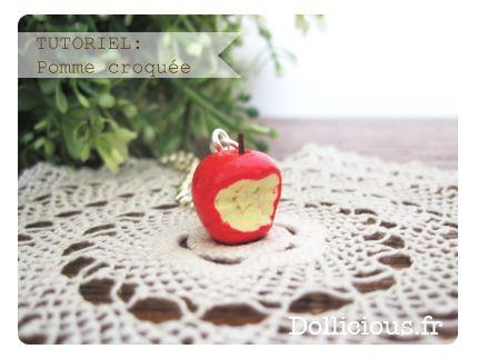 tuto pomme croqué fimo blanche neige