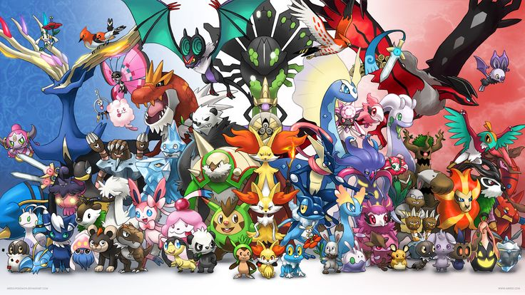 Amazing Generation 6 Pokemon Wallpaper featuring all the new Pokemon from Pokemon X and Pokemon Y (including Diancie, Hoopa and Volcanion) by arkeis-pokemon.deviantart.com