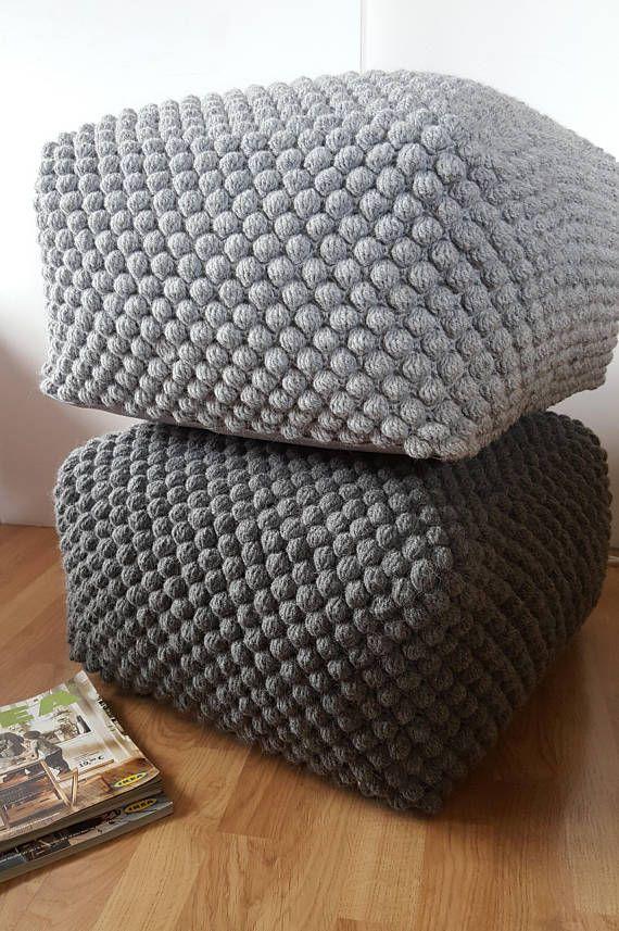 Crochet Gris Blanc Bleu Vert Pouf Ottoman Tabouret Farci