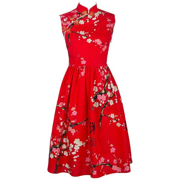 MYK030 Festival Red Dresses with Plum Flowers Printed Retro Party... (1.136.110 IDR) ❤ liked on Polyvore featuring dresses, vintage dresses, vintage floral dress, vintage cotton dress, red vintage dress and plum dress