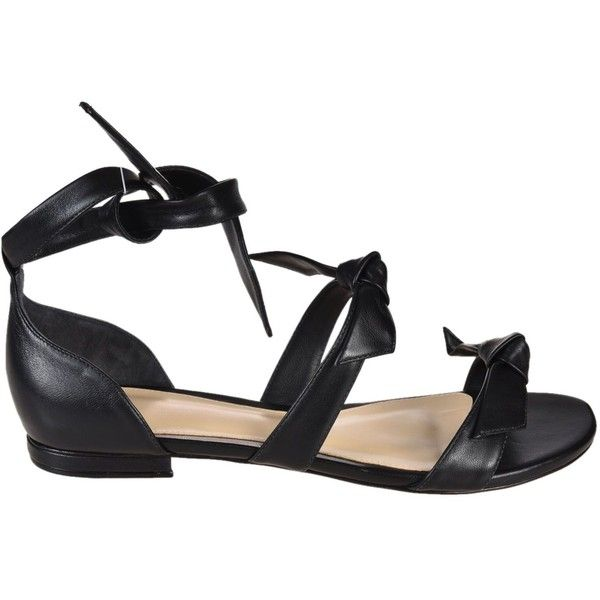 Bow Flat Sandals ($374) ❤ liked on Polyvore featuring shoes, sandals, nero, womenshoes, black bow flats, bow sandals, black flat sandals, open toe flat sandals and ankle wrap flat sandals