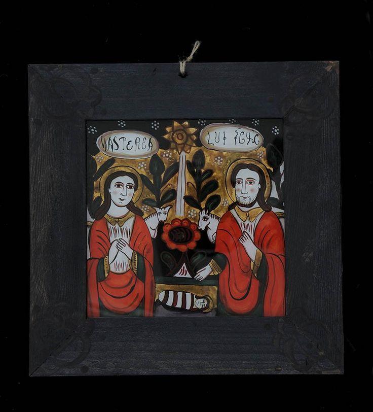 Icoana pictata pe sticla Nasterea lui Iisus