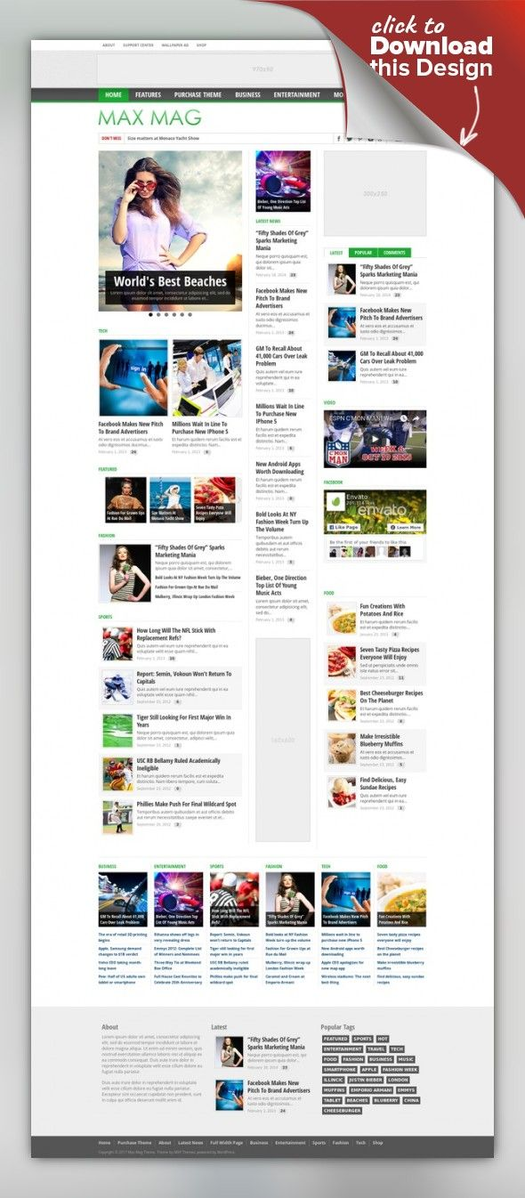 """Max Mag - Responsive Wordpress Magazine Theme ads, blog, clean, magazine, news, newspaper, rating, responsive, retina, review, seo, sports, theme, video, wordpress Last update: Version 2.8.0 – May 2, 2017 A feature-rich, professional media and magazine theme. Max Mag is fully-responsive, retina-ready and Compatible with WooCommerce and bbPress. It also includes a """"sticky"""" menu bar, a slider on each category page, 5 different ad units (includin..."""
