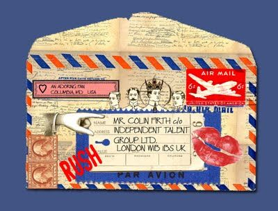 from A Little Color Every Day: Mail Art  Envelope using lots of fun airmail theme images