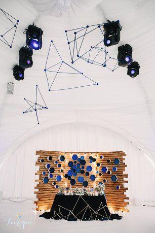 Стол молодожен и оформление шатра в космической тематике