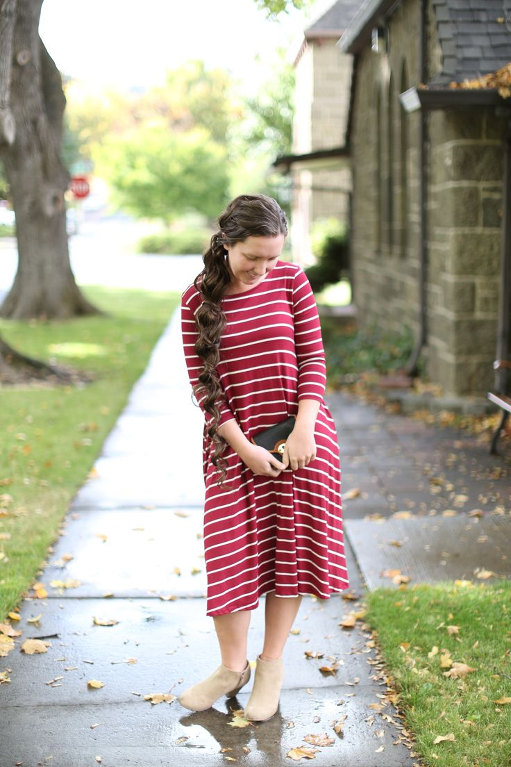 Modest Fashion | Modest Bridesmaid Dresses | Burgundy Striped Swing Dress from Dainty Jewell's Modest Apparel Boutique
