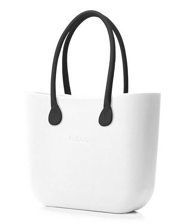 Another great find on #zulily! White Black Faux Leather Handle O Bag #zulilyfinds
