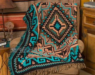 Native American style southwest woven jacquard throw blanket with fringed edges. This is double woven and very soft, perfect for a furniture throw, picnic blanket, wrap or for home decorating. This we