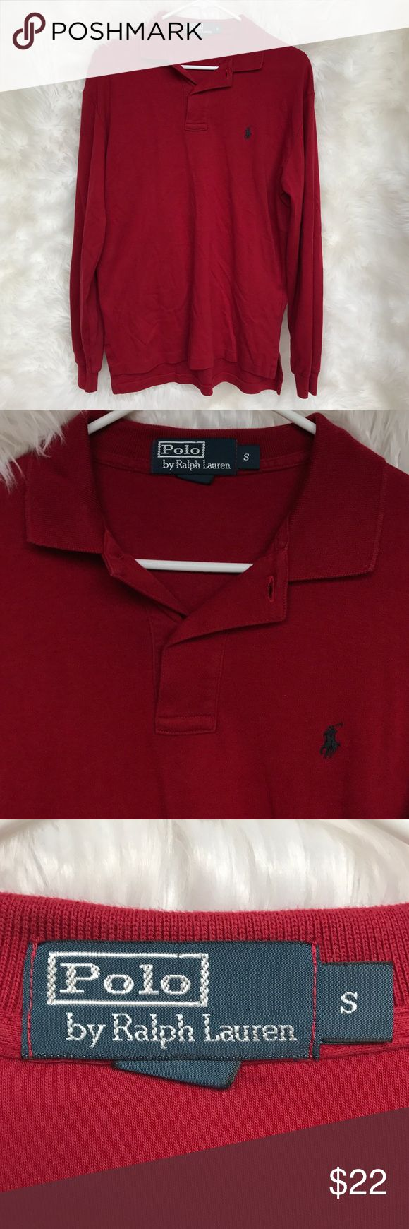 Men's Polo By Ralph Lauren Long Sleeve Polo Shirt Men's Red Polo By Ralph Lauren Long Sleeve Polo Shirt. Polo is a size small. It has been worn a few times, but is still in excellent condition! Perfect for summertime. Great for dressing up or just a casual look! Open to offers! ☺️ Polo by Ralph Lauren Shirts Polos