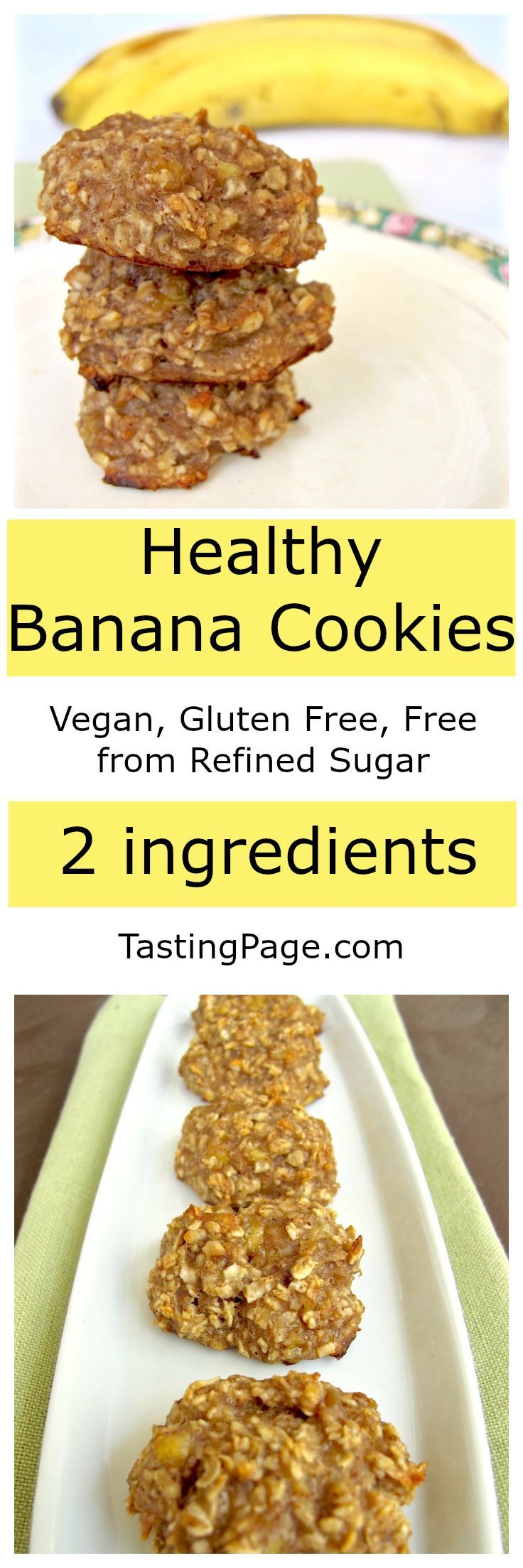 Healthy Banana Cookies - Vegan, gluten free, free from refined sugar | TastingPage.com