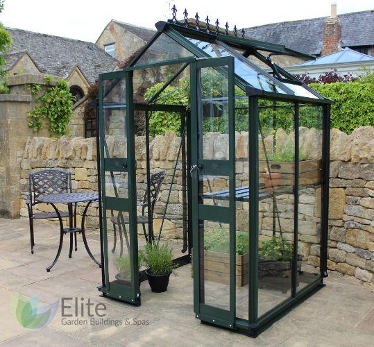 Eden Birdlip 4x4 Greenhouses in Hampshire. Zero threshold, powder coated, toughened glass.