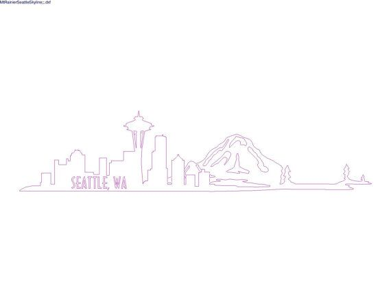 Custom DXF file of the beautiful Seattle, Wa skyline with the iconic Mt. Rainier in the background!