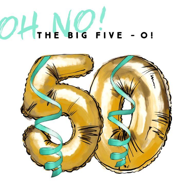 Party time! Verjaardagskaart met gouden folie ballonnen met cijfer 50.
