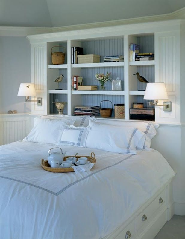 great idea for small bedroom love bead board mounted lighting to save space - Bed Frame With Shelves