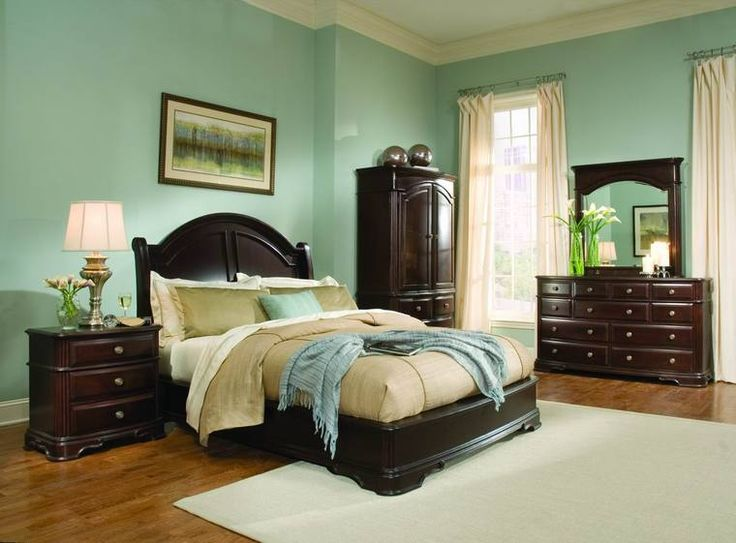 light-green-bedroom-ideas-with-dark-wood-furniture Light colors - paint colors for living room walls with dark furniture