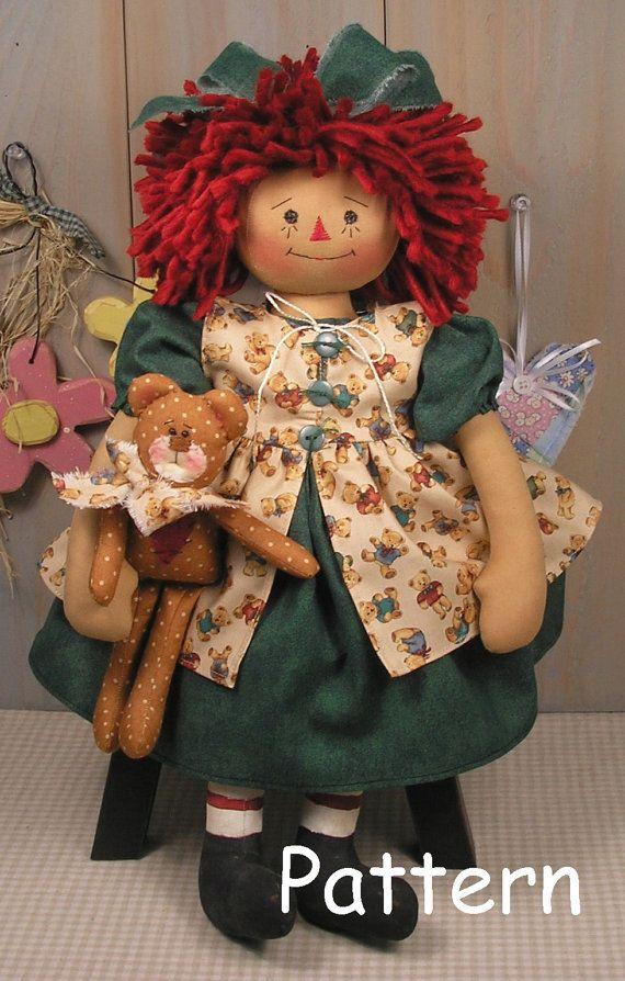 Raggedy Ann Baby Bear Primitive Folk Art Cloth Doll