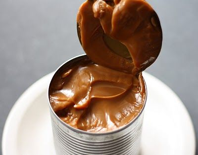 Caramel in a can!! Can of condensed milk, submerged in water, in the crockpot for 8 hours = caramel!!