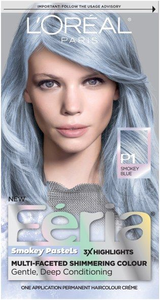 Loreal Feria smokey blue My son wanted to look like silver surfer. Don't know about that but this color is gorgeous it is exactly what it says smokey blue and silver! Love it! 5/30/16