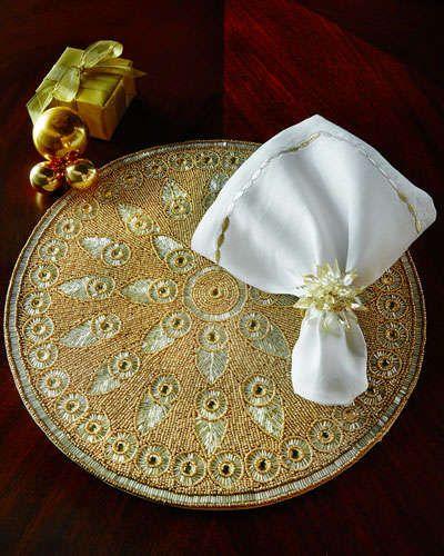 -5BGB Kim Seybert Gold & Silver Placemat, Napkin, & Napkin Ring