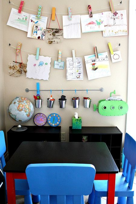 Kid's craft & homework wall display - totally making this one day!