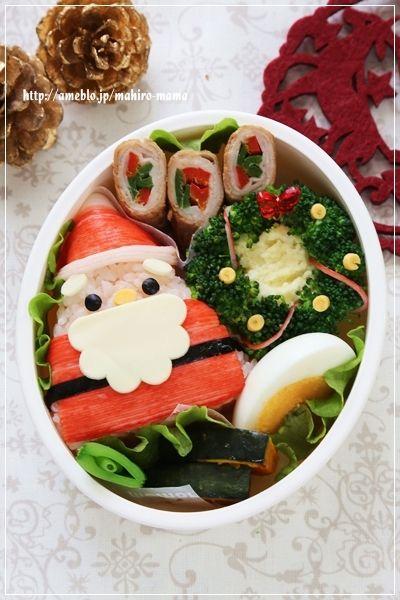 small Christmas bento with rice Santa and broccoli wreath