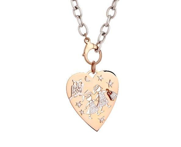 Un cuore che rappresenta i nostri affetti, sempre insieme, anche nella notte.... Pendente in oro rosa e bianco, con brillanti