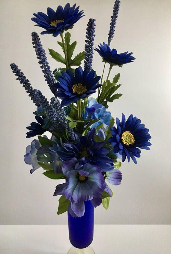 Blue Flower Bouquet Blue Floral Home Decor Floral Birthday Gift Floral Cen Blue Flower Arrangements Flower Arrangements Center Pieces Flower Arrangements