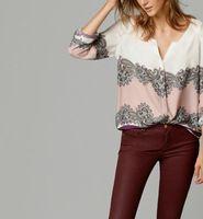 Женщины тотем хлопок V шеи блузки Blusas Femininas Европейский старинные длинным рукавом офис рабочая одежда повседневная топы плюс размер ST2446