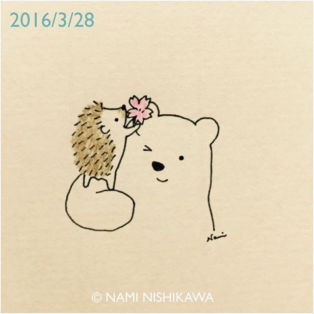 805 #桜 a cherry blossom #illustration #hedgehog #polarbear #ハリネズミ #シロクマ #illustagram