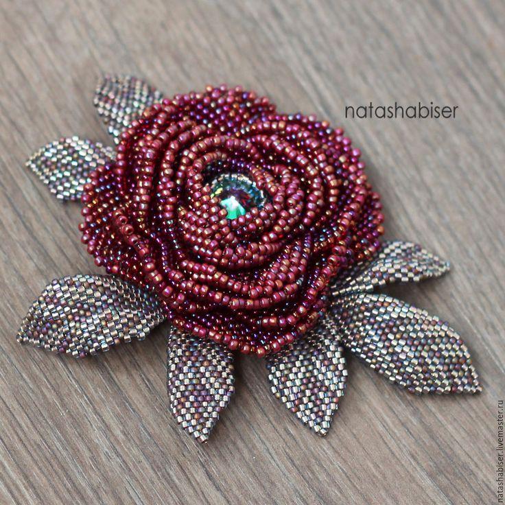 """Купить Брошь цветок из бисера """"Бордовая Роза"""" (0394) - брошь, брошь цветок, брошь из бисера"""