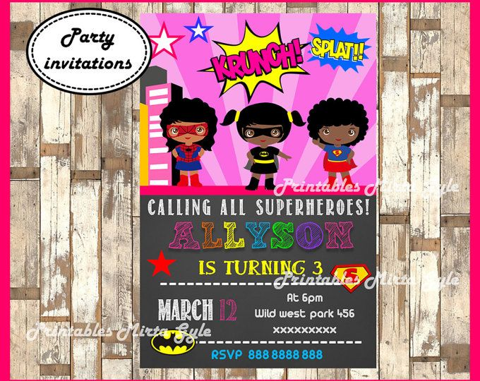 This is a Digital file that you will be able to download and print as many as youd like. You will not receive a physical product.  This invitation can be printed right from your home We send a high resolution birthday invitation size: 6 x 4  by email ( Digital file ). So you could print by your self!  size: 6 x 4  This is how it works: 1: Purchase item  2: Please message the following detail:  a: Childs Name and Age b: Partys Date c: Time of party d: Address of party e: RSVP Information  •…