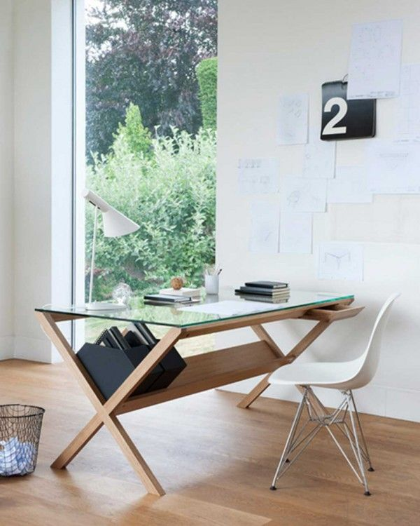 simple office desk with innovative paper storage