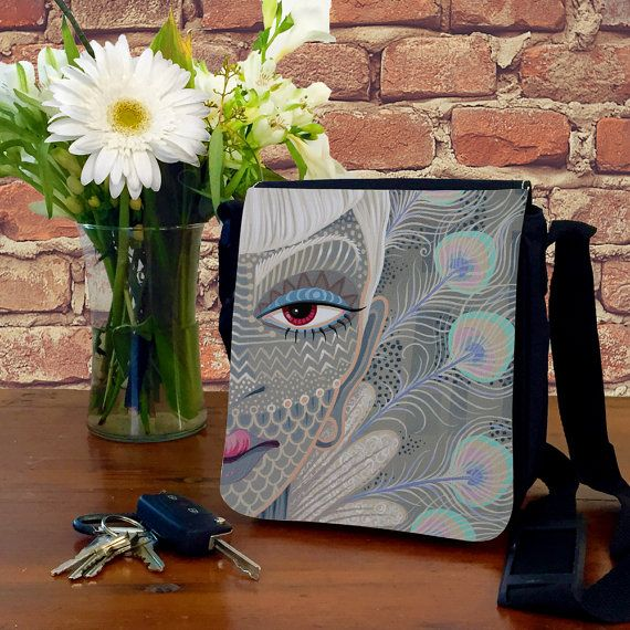 Peacock Feathers - Printed Fabric Bag - Female Art - Messenger Bag Shoulder - Hip Bag - Painted Bags - Grey Bag - Sku BAG-002