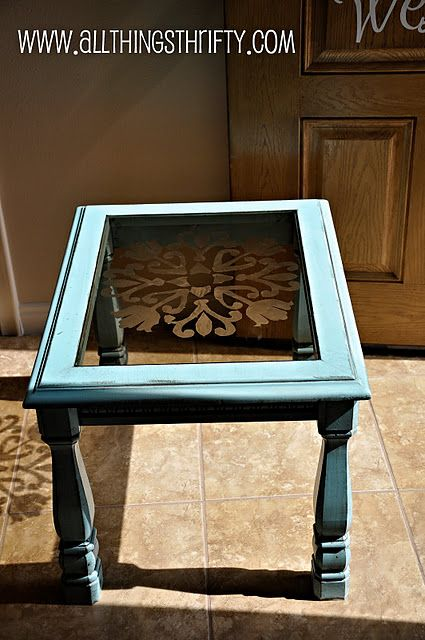Diy stencil design etched onto glass insert. Love the glazed furniture technique.