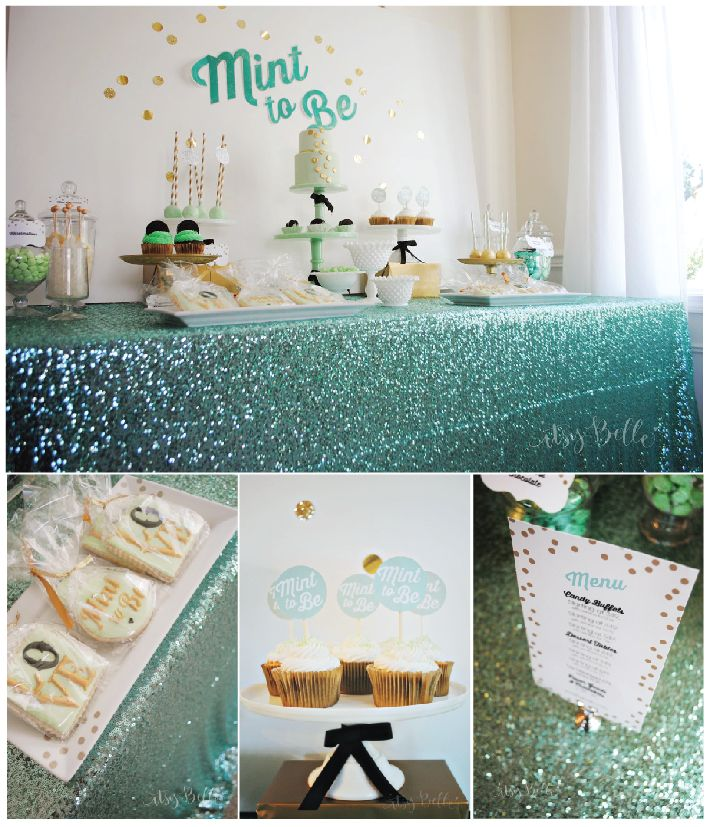 mint and gold mint to be bridal shower and wedding printables for dessert table by itsy