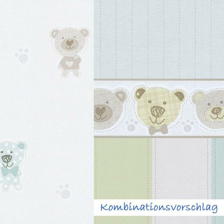 Süße Tapete mit Bärchen und Streifen von P+S International ideal für die Gestaltung eines Baby oer Kinderzimmers, jetzt in unserem Webshop kids-comfort.de kaufen. #tapete #bordüre #kinderzimmer #borte #kindezimmerdeko #wallpaper #kids #nursery #babyzimmer