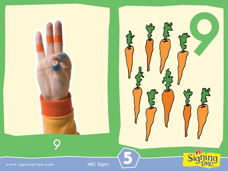 "NINE: Touch your pointer to your thumb. (Hint: Uses the same handshape as the letter ""F!"")"