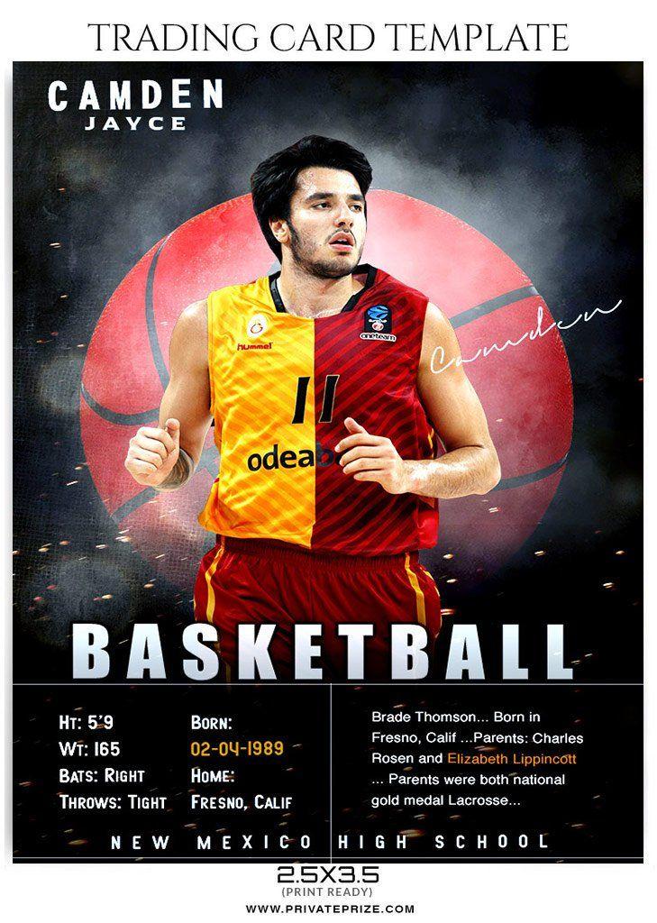 Camden Jayce Basketball Sports Trading Card Photoshop Template Trading Card Template Trading Cards Player Card