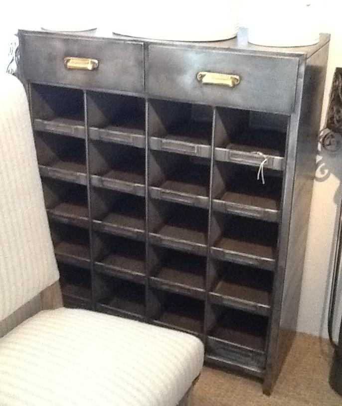Deze kast staat op de locatie mensen !!!!!  Faustina Pace Antiques - Polished Steel Industrial Cabinet - $2,850 list