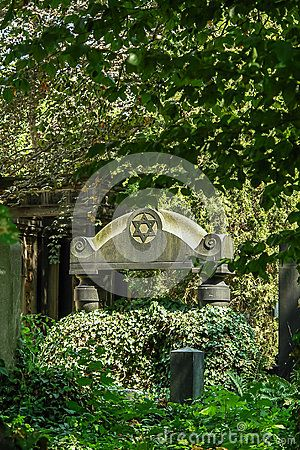 Monument at the Old Jewish Cemetery in Wroclaw. Poland.