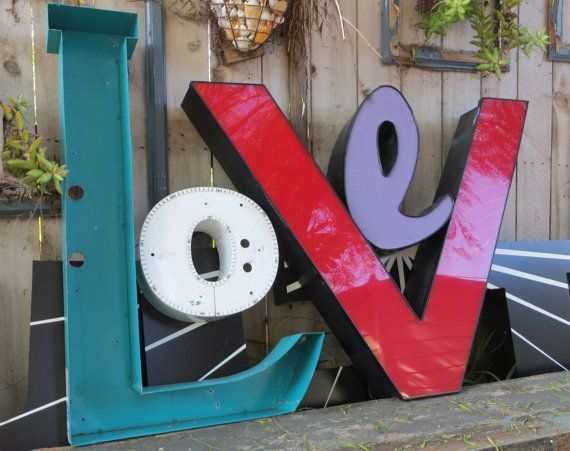 Very Large Channel Sign Letter 'L' Aqua Metal & by MerlesVintage, $155.00