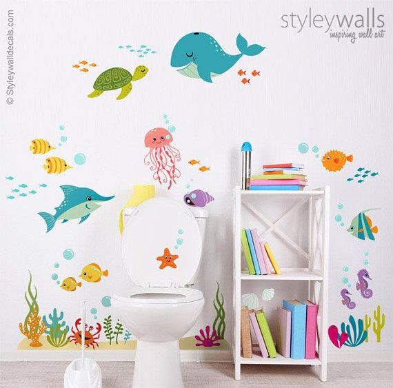 Under The Sea Wall Decal Kids Bathroom Wall Decal Fishes Wall
