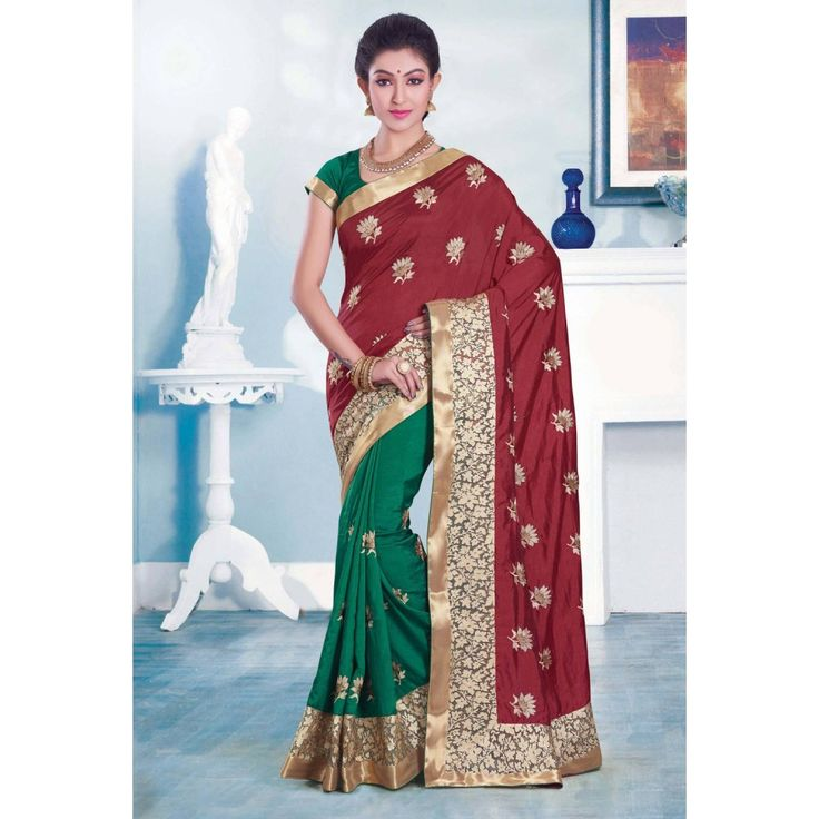 Green and Maroon Dupion Silk Indian #Saree With Blouse- $62.42