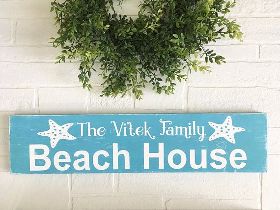 Beach Wood Signs Beach Home Decor Family Sign Personalized
