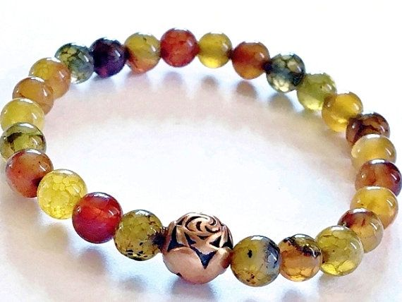 Natural multicolor dragon vein agate and copper stretch bracelet by Emmalishop  #stretchbracelet #agate #boho #bracelet #bohemian #gypsy #tribal #jewelry #jewellery #etsy #handmade #artisan #copper